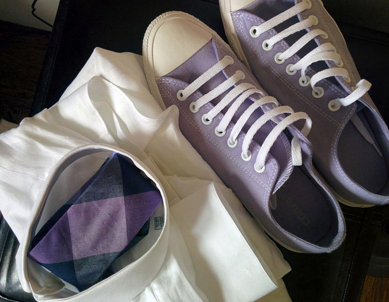 Trendy purple shoes and white dress shirt